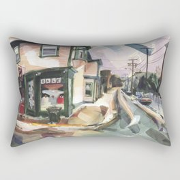 A brisk wind and melting snow mark the end of winter in Newport Rectangular Pillow
