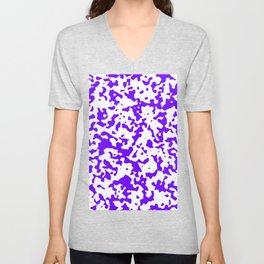 Spots - White and Indigo Violet Unisex V-Neck