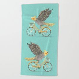Cockatiel on a Bicycle Beach Towel