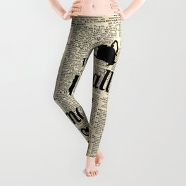 We're All Mad Here - Alice In Wonderland - Old Dictionary Page Leggings