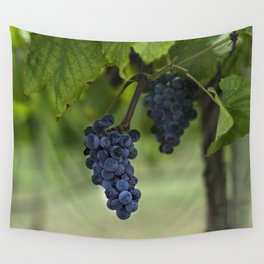 Cluster of purple grapes hanging under grapevine in vineyard Wall Tapestry