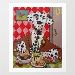 Dapper Dog Dining Art Print