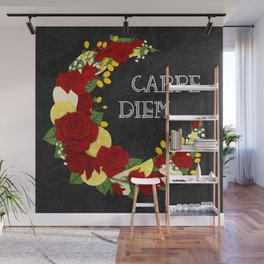 Crescent Bloom | Red roses and lemons Wall Mural