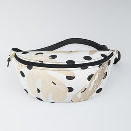 Simply Tropical White Gold Sands Palm Leaves on Dots Fanny Pack