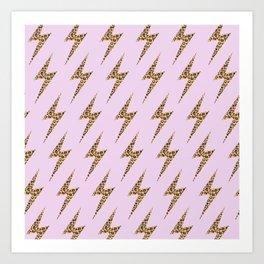 Wild Pink Leopard Lightning Bolt Art Print