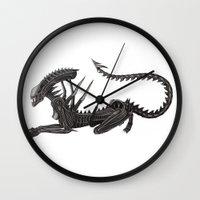 xenomorph Wall Clocks featuring Xenomorph Warrior Babe by Aisha Diandra