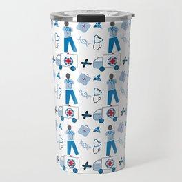 Wellness Health Medical Symbols Doctors and  Nurse Travel Mug