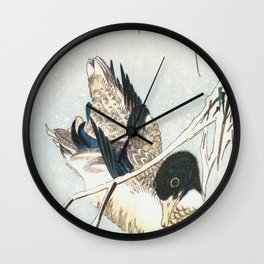 Mallard and Snow-covered Reeds Wall Clock