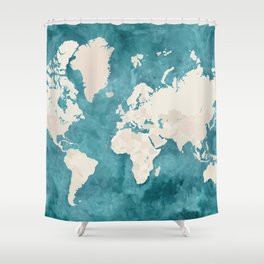 Teal watercolor and light brown world map Shower Curtain