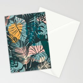 Dark Abstract Leaves Foliage Pattern Stationery Cards