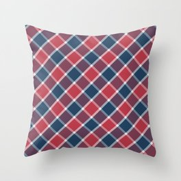 Nautical style check navy-red-purple Throw Pillow