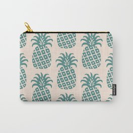 Retro Mid Century Modern Pineapple Pattern Teal and Beige Carry-All Pouch