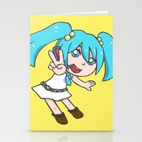 vocaloid Stationery Cards featuring Miku Miku by tees4weebs