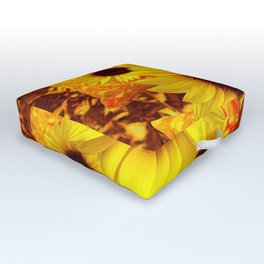 FIVE YELLOW SUNFLOWERS ON GOLDEN ART Outdoor Floor Cushion