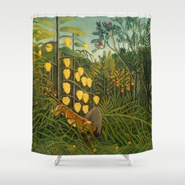 """Henri Rousseau """"In a Tropical Forest. Struggle between Tiger and Bull"""" Shower Curtain"""