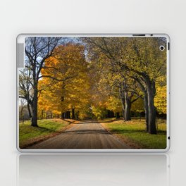 Rural Country Gravel Road in Autumn Laptop & iPad Skin