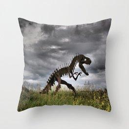 Steel T-Rex Throw Pillow