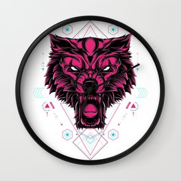 The Wolf sacred geometry Wall Clock