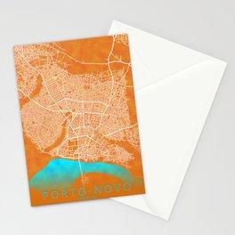 Porto-Novo, Benin, Gold, Blue, City, Map Stationery Cards