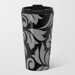 Flourish Damask Art I Gray on Black Travel Mug