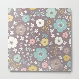 Cute Colorful Flowers And Leafs Metal Print