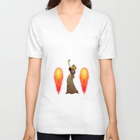 bunnies V-neck T-shirts featuring BUNNIES! by Travellustrator