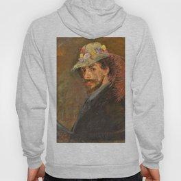 Self-portrait with flowered hat - James Sidney Edouard Baron Ensor Hoody