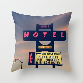 Hi Line Motel Throw Pillow
