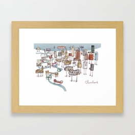 Cleveland- Bridges and Skyline Framed Art Print