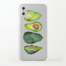 Avocado Slices Clear iPhone Case