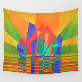 Dreamboat - Cubist Junk In Primary Colors Wall Tapestry