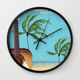 Mexico City Acoustic Guitar vintage travel print Wall Clock