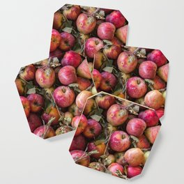 Pile of freshly picked organic farm apples with imperfections Coaster