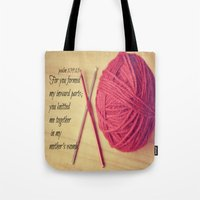 scripture Tote Bags featuring Psalm 139 Baby Scripture by KimberosePhotography