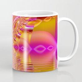 Golden Pink Fiesta, Abstract Fractal Ocean Ripples Coffee Mug