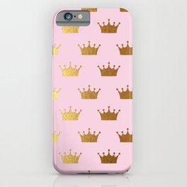 Gold Glitter effect crowns on pink - Royal Pattern for Princesses iPhone Case