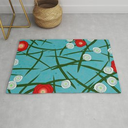 Japenese Water Flowers Pattern Rug