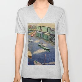 The Romantic Beauty of a Paris Summer on the River Seine landscape painting by Norman Lloyd Unisex V-Neck