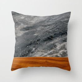 Marble and Wood 3 Throw Pillow