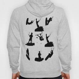 Wakeboarder Silhouette Collage Hoody