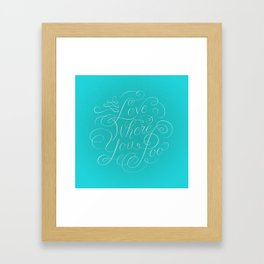 Love Where You Poo - Teal Framed Art Print