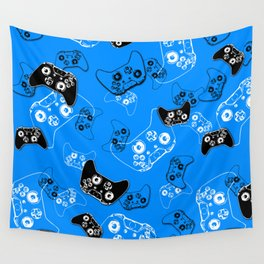 Video Game in Blue Wall Tapestry
