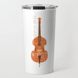 Distressed Cello Graphic Cellist Musician Instrument Travel Mug