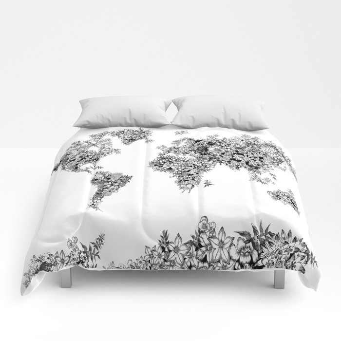 Floral world map black and white comforters by bekimart society6 floral world map black and white comforters gumiabroncs Image collections