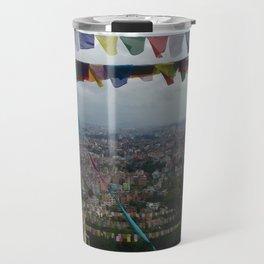 Prayers flags over Kathmandu Travel Mug
