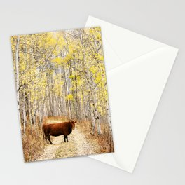 Cow in aspens Stationery Cards