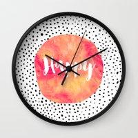 be happy Wall Clocks featuring Happy by Elisabeth Fredriksson