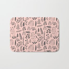 Pink and black leaves Bath Mat