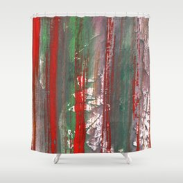Red striped abstract Shower Curtain