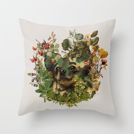 Camo Chihuahua Forest Adventure Throw Pillow